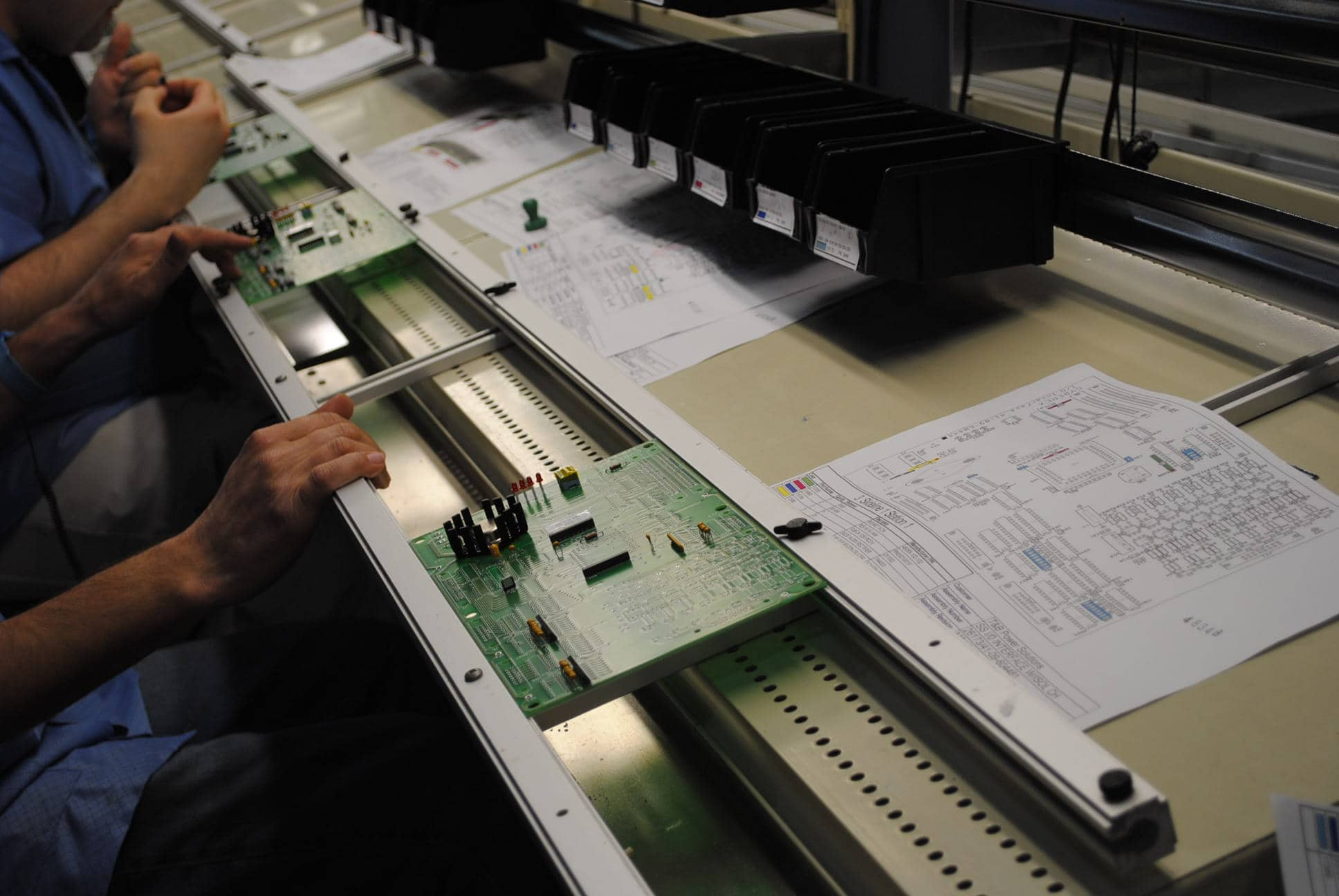 Picture of circuit board assembly by RBB employees