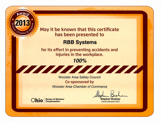 RBB 100 percent safety award