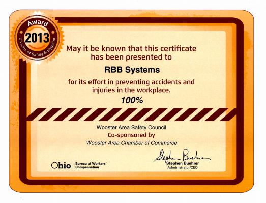 RBB 100 percent safety award
