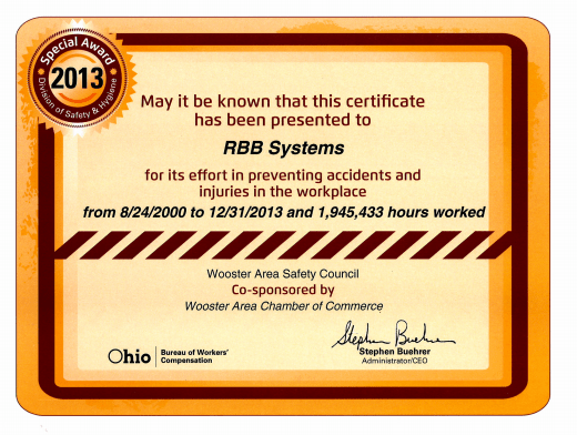 RBB safety award