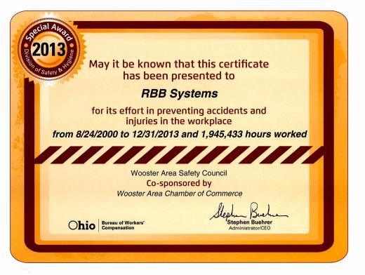 RBB safety award
