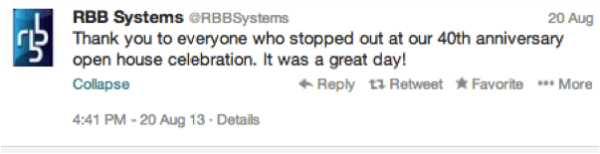 RBB systems tweet